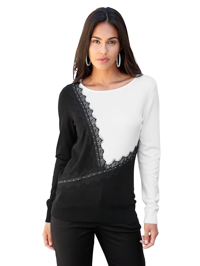 AMY VERMONT Pullover mit Spitze, Schwarz/Weiß
