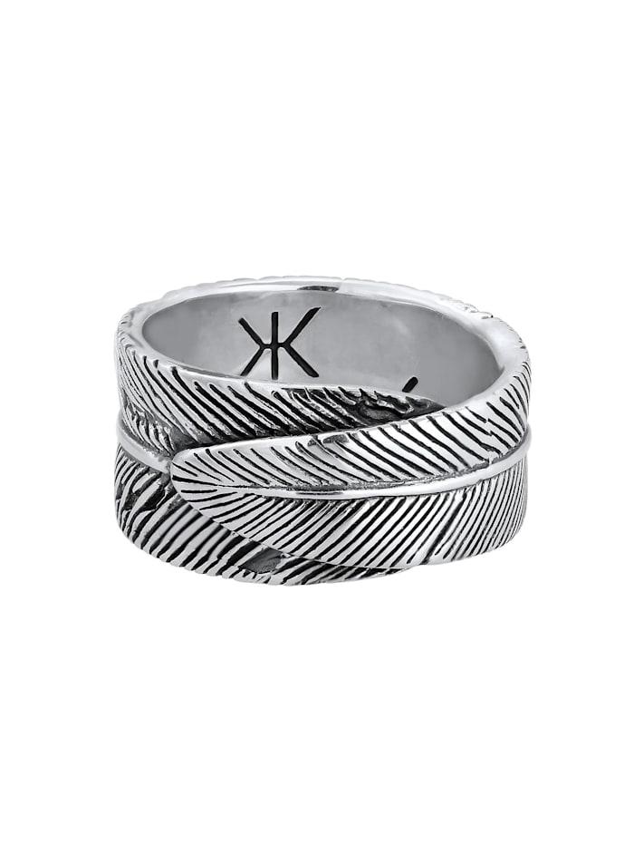 Ring Herren Feder Vintage Trend Oxidiert 925 Silber