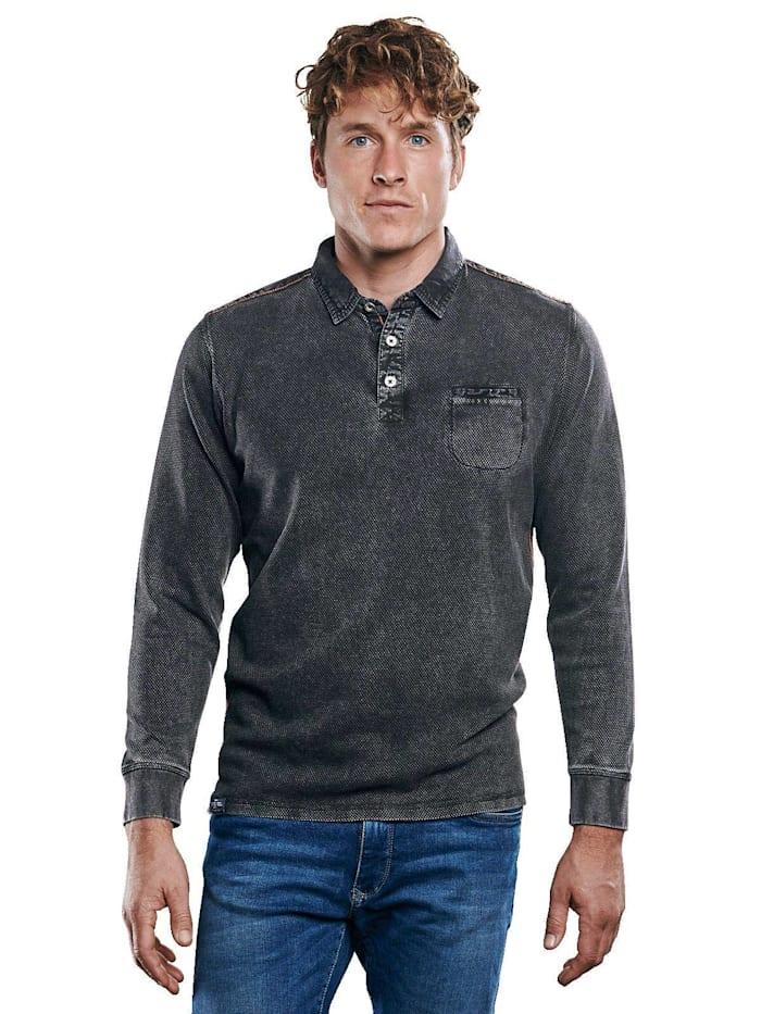 Engbers Poloshirt mit wertigen Details, Anthrazit