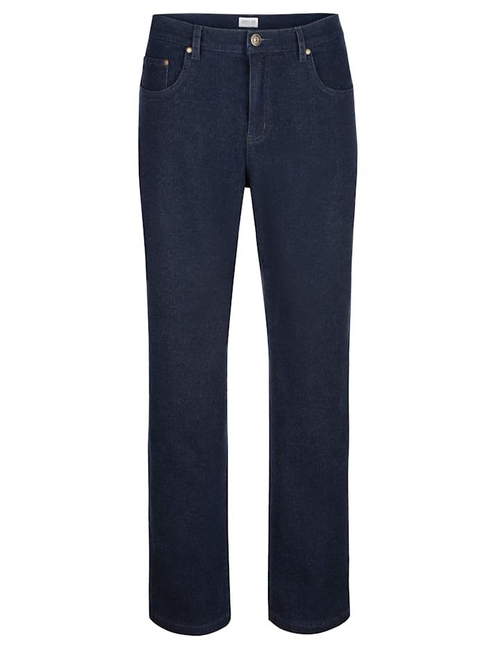 Roger Kent Jean 5 poches d'aspect laine, Blue stone
