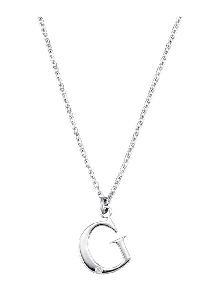 Collier Letter G met diamant, Zilverkleur