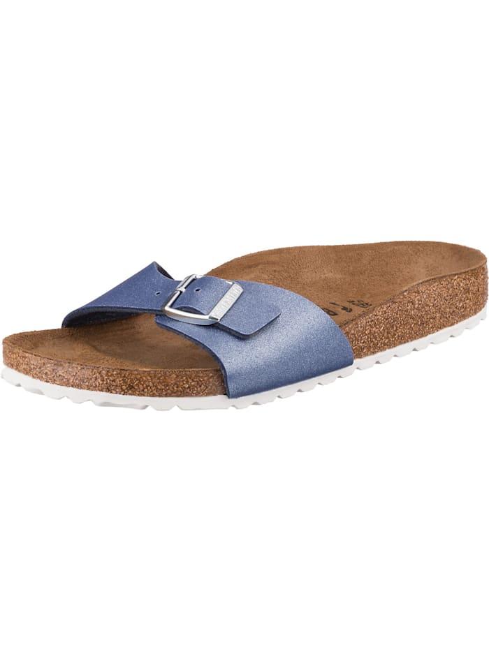 Birkenstock Madrid Icy Metallic Komfort-Pantoletten schmal, blau