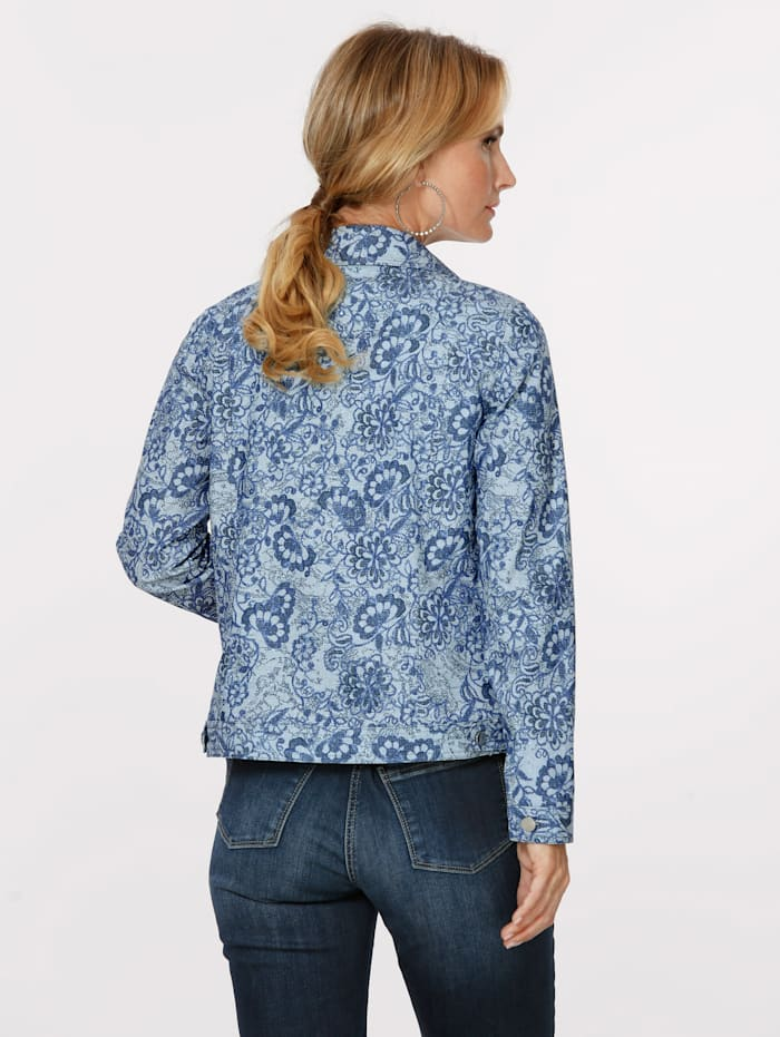 Denim jacket with a floral print