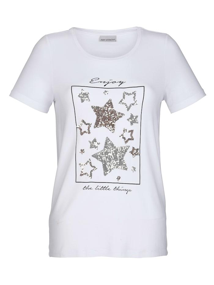 Shirt mit Motiv und Pailletten im Vorderteil