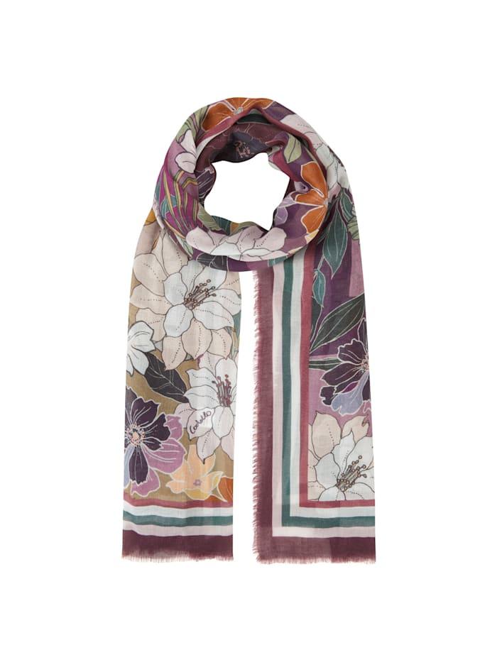 Codello Flower-Schal aus Baumwolle und Modal, dark violet
