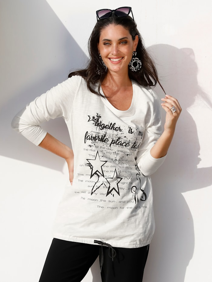 MIAMODA Shirt mit Tunnelzug am Saum, Creme-Weiß/Schwarz