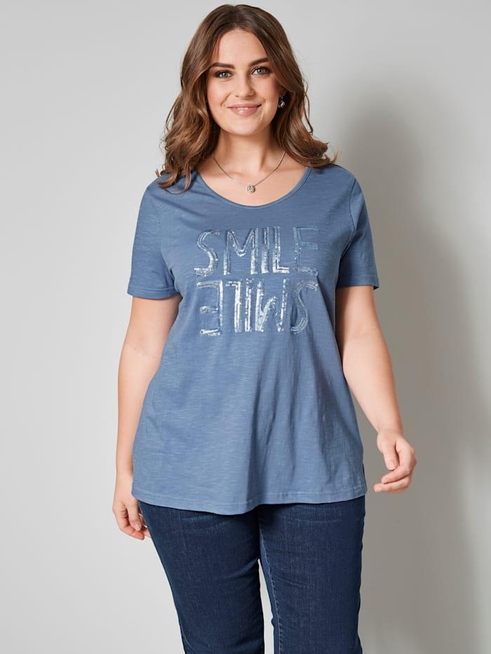 Janet & Joyce Shirt aus reiner Baumwolle, Blau