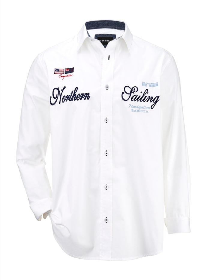 BABISTA Overhemd met maritiem borduursel, Wit