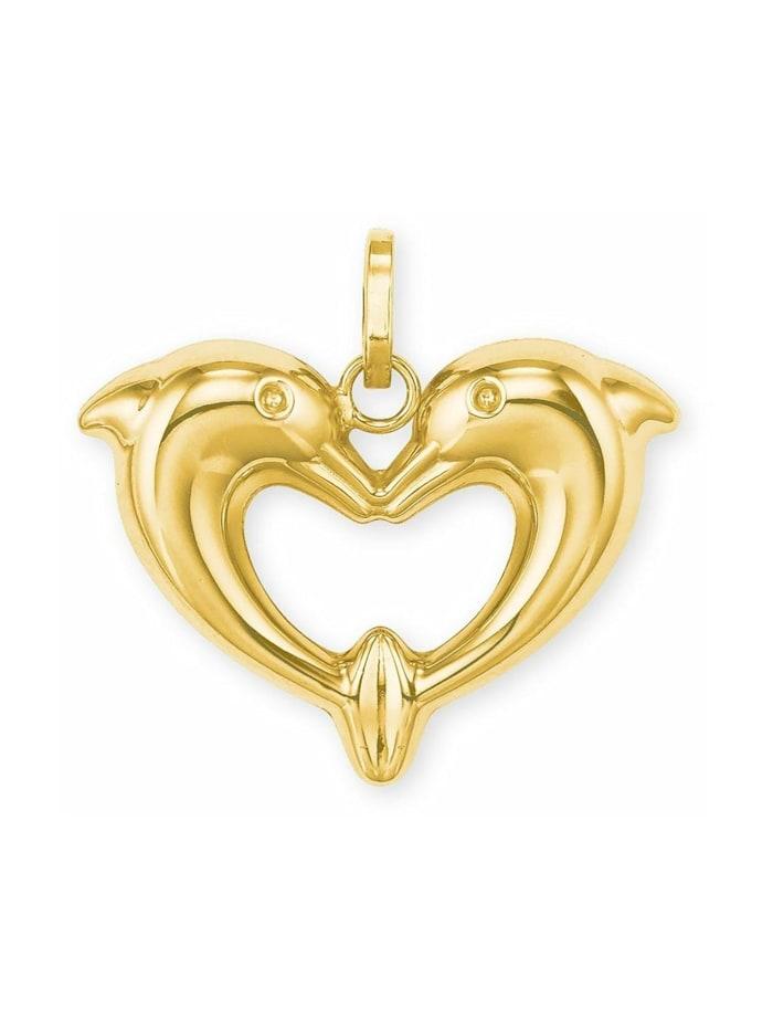 amor Anhänger für Damen, Gold 585, Delphin, Gold