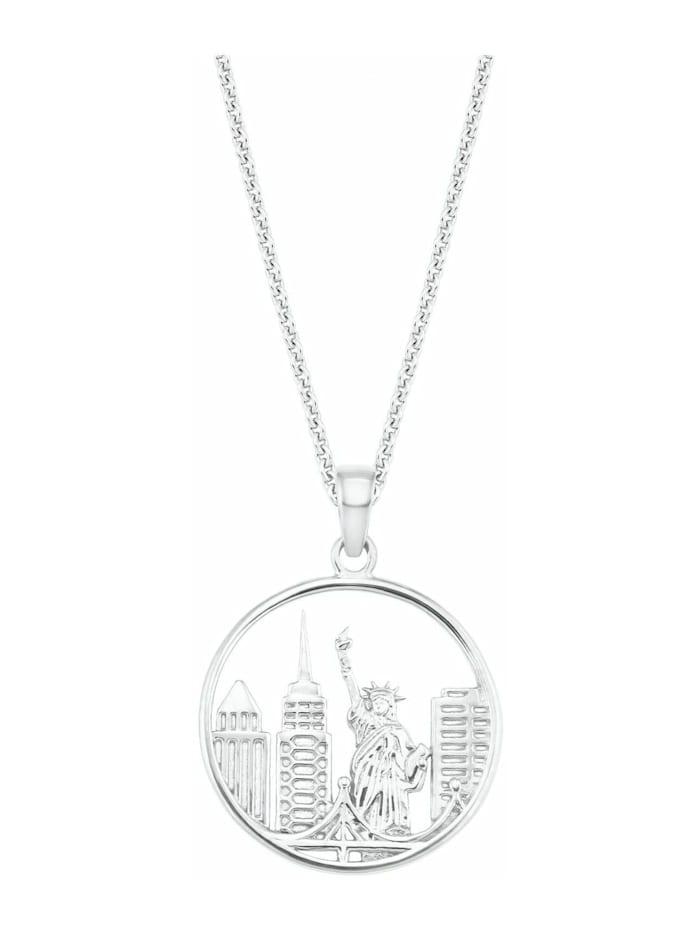 amor Kette mit Anhänger für Damen, Silber 925, Stadt rund | New York, Silber