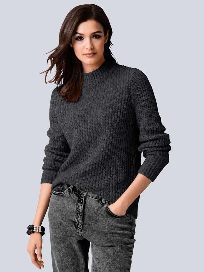 Alba Moda Pullover im Rippenstrick allover, Grau