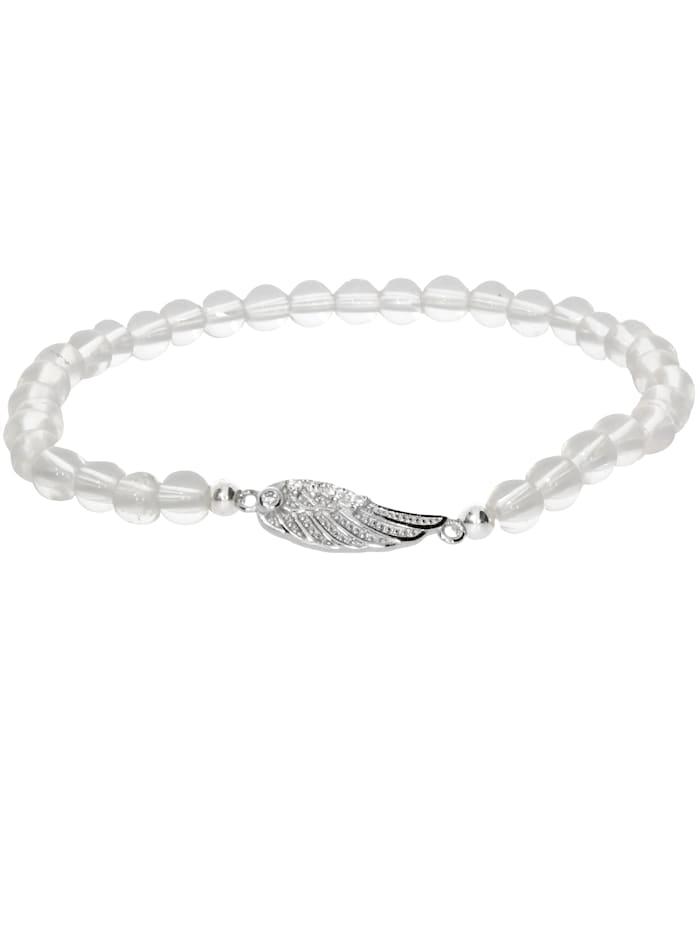 1001 Diamonds Engelsflügel Bergkristall Armband 925 Silber 17 cm, transparent