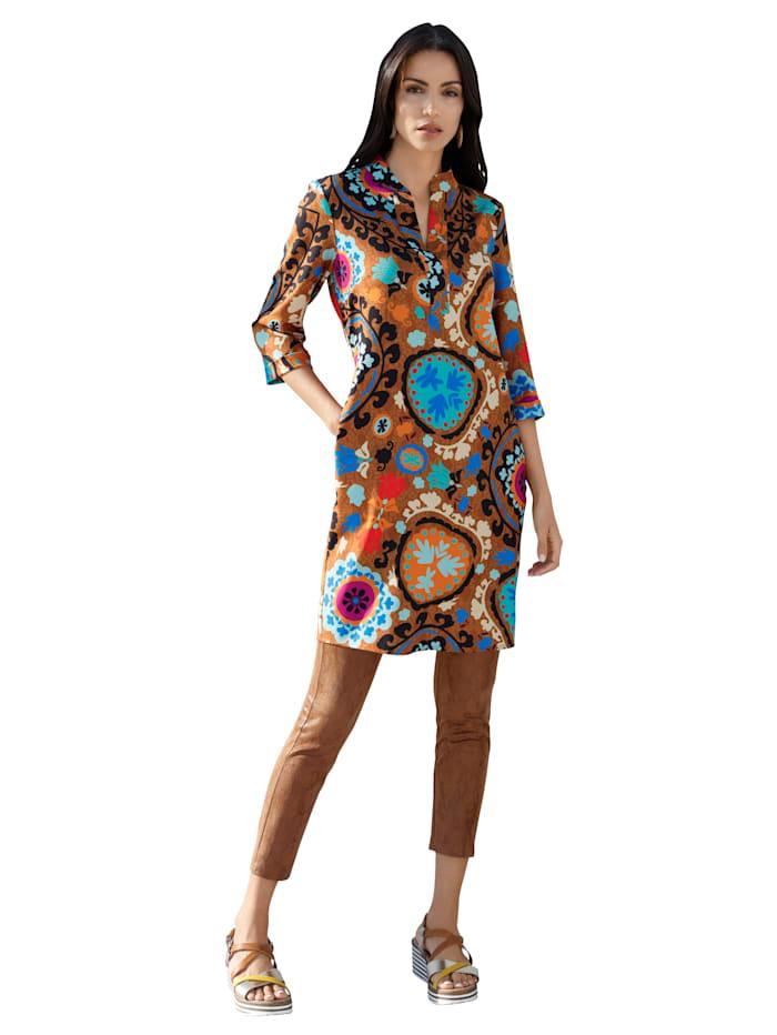 AMY VERMONT Kleid mit grafischem Muster allover, Senfgelb/Blau/Orange