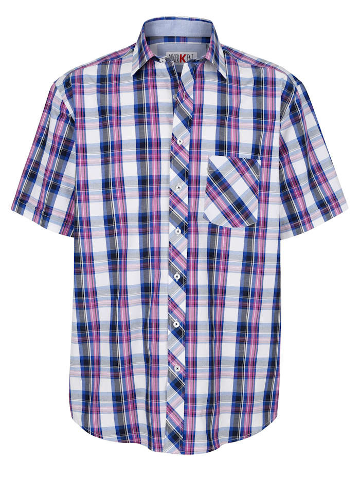 Roger Kent Hemd mit garngefärbtem Karomuster, Marineblau/Pink
