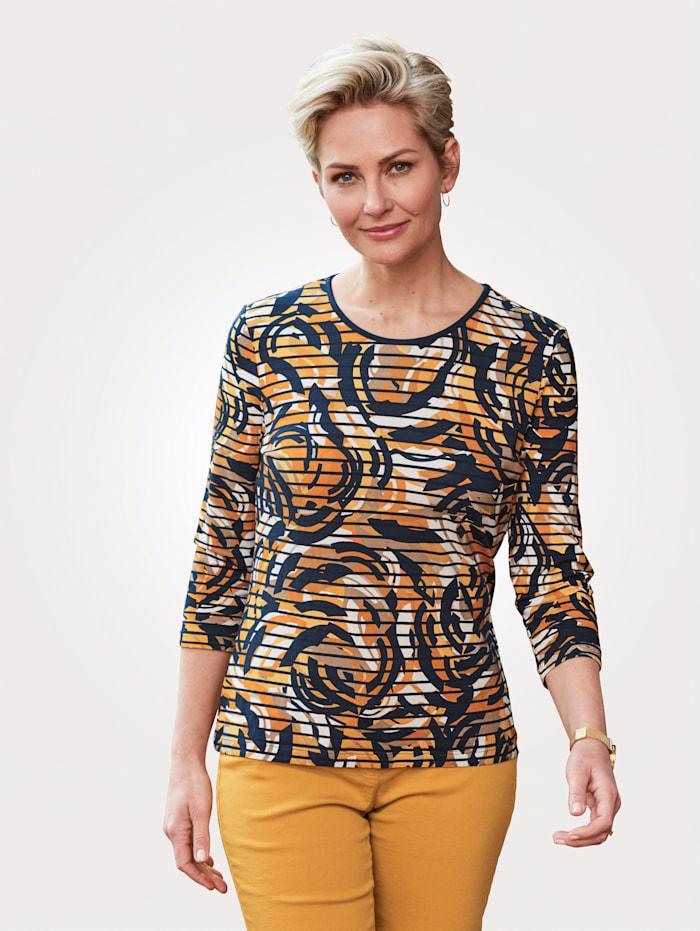 Barbara Lebek Shirt met print rondom, Marine/Geel