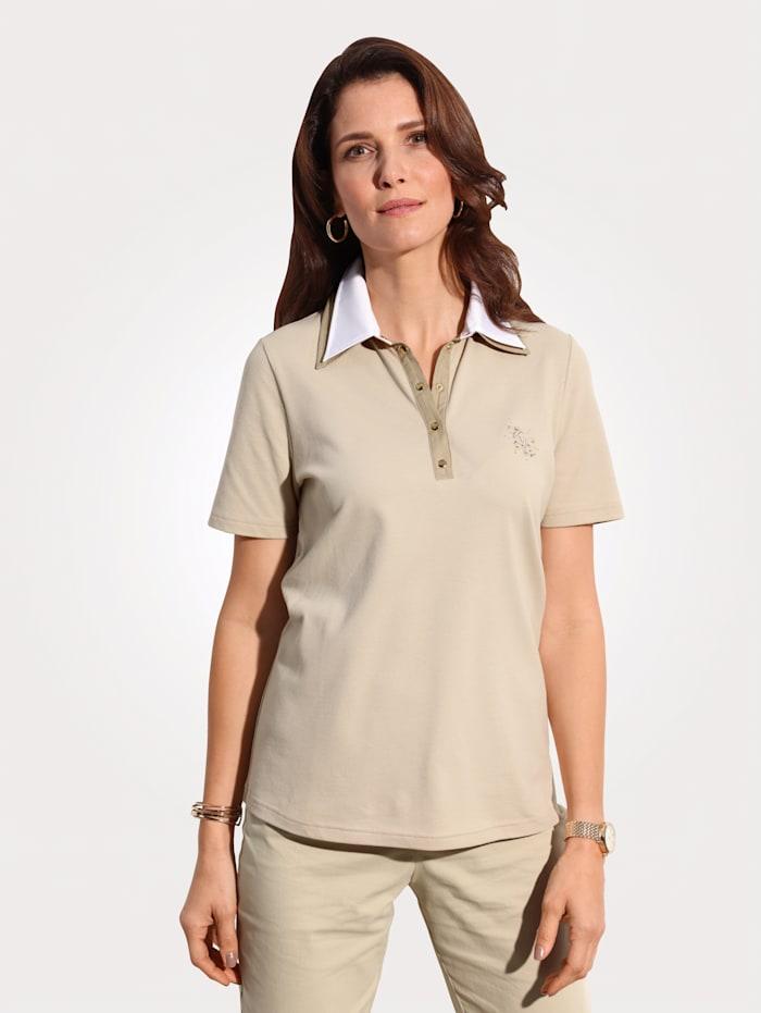 MONA Poloshirt met stras en borduursel, Beige/Ecru