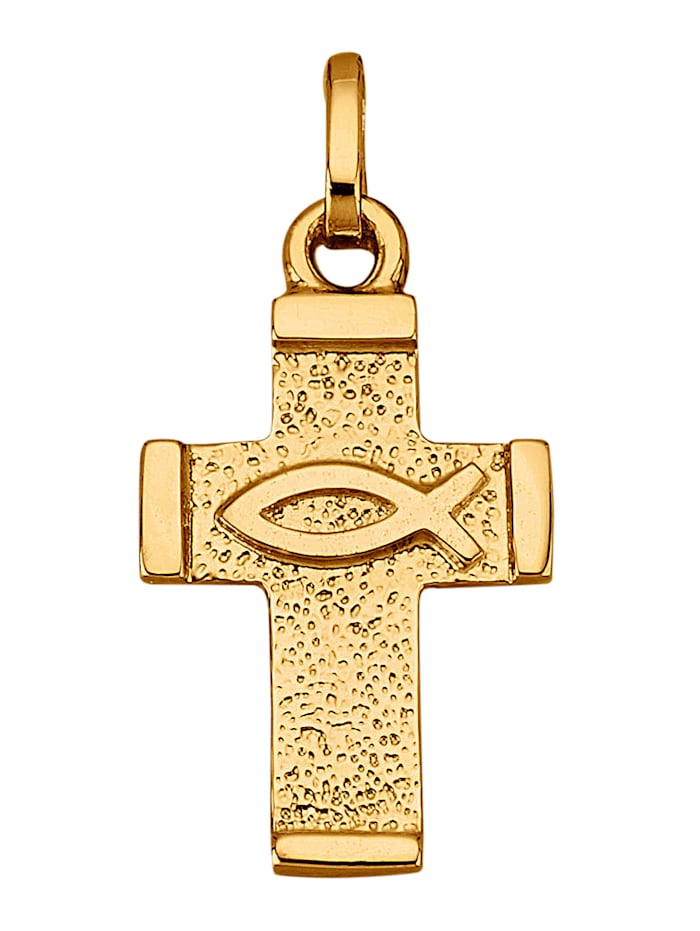 Amara Or Pendentif Croix en or jaune 585, Coloris or jaune