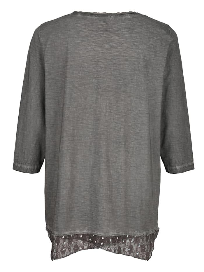 Shirt mit Spitzeneinsatz und Pailletten  am Saum