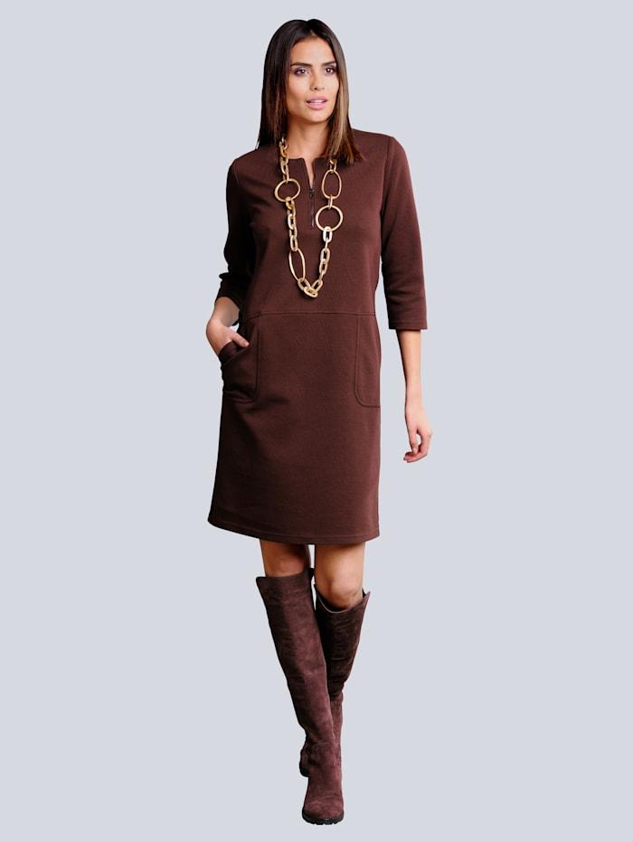 Alba Moda Jersey jurk met rits aan de hals, Bordeaux