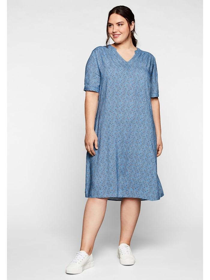 Sheego Kleid aus leichter Viskose, in A-Linie, jeansblau bedruckt