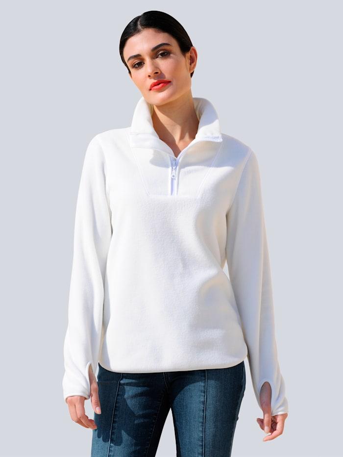 Alba Moda Sweatshirt in weicher Fleeceware, Off-white