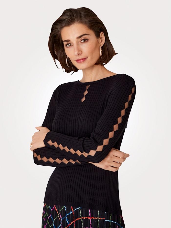 MONA Pullover mit transparentem Netzeinsatz, Schwarz