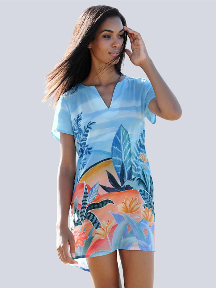 Alba Moda Robe de plage à imprimé estival, Bleu/Multicolore
