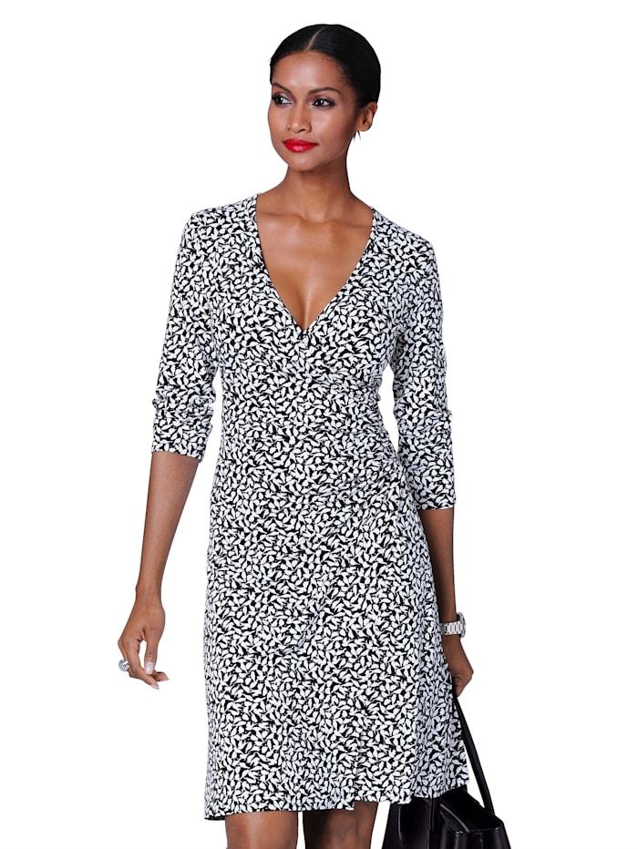 Alba Moda Kleid mit Schwalben-Print, Schwarz/Weiß