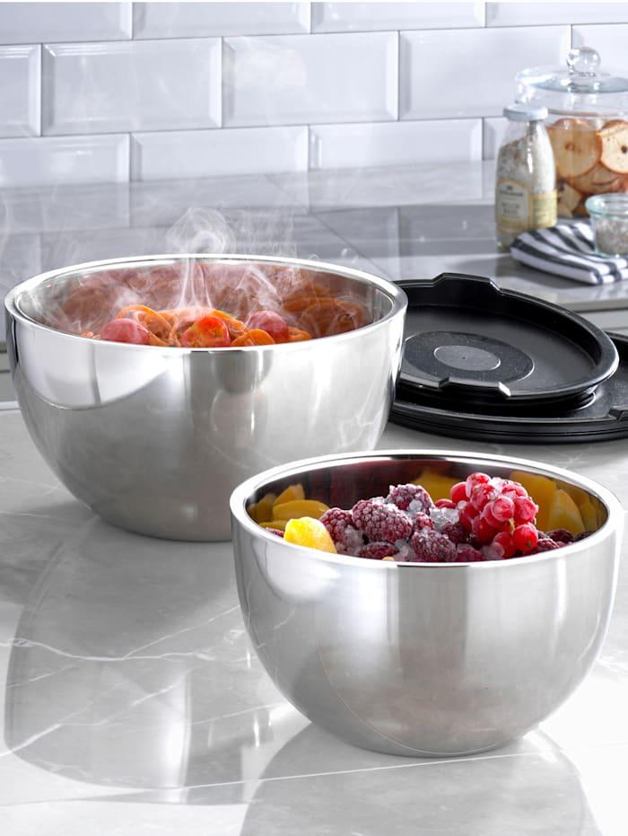 Meine Küche Lot de 2 saladiers isothermes, Coloris argent