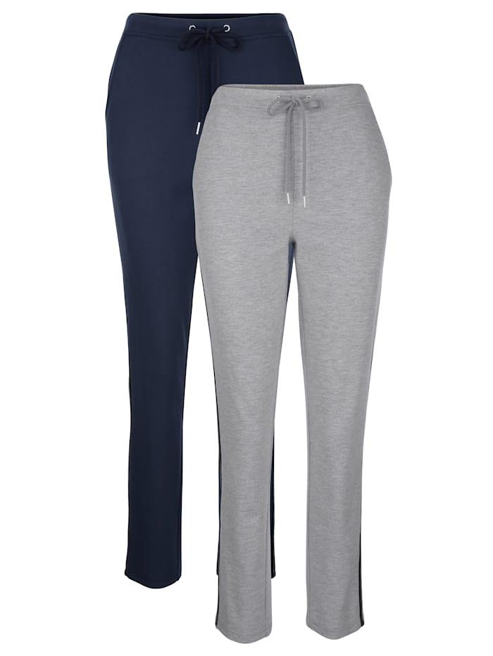 Harmony Lot de 2 pantalons de loisirs avec galon Lurex tendance, Marine/Gris