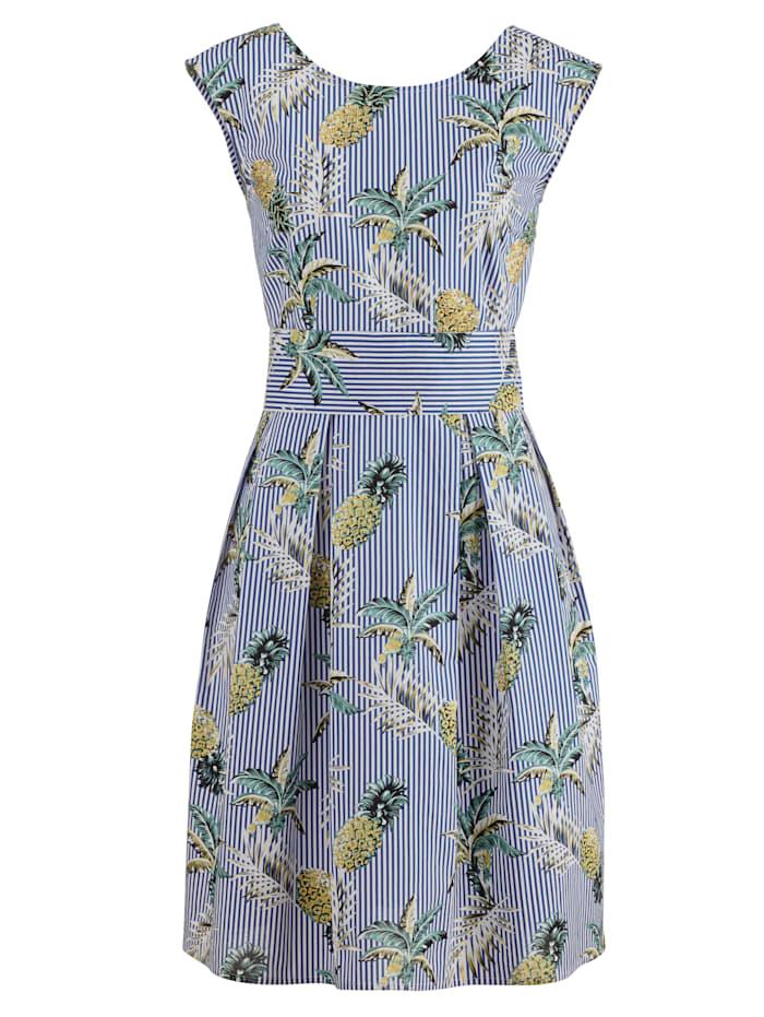 Alba Moda Strandkleid mit Perlen bestickt, blau-weiss