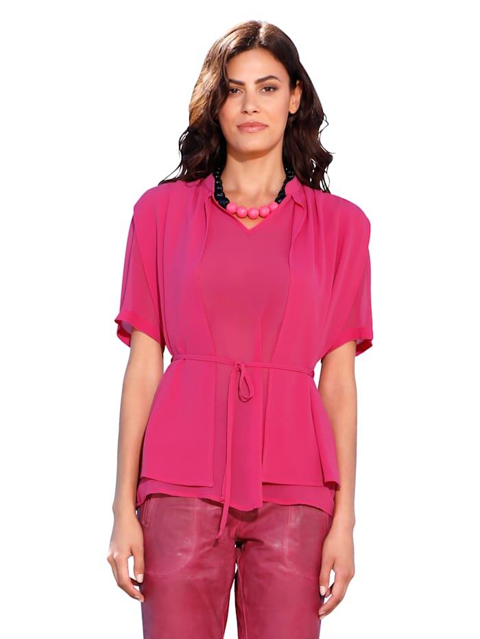 AMY VERMONT Blouse met bindbandje in de taille, Pink