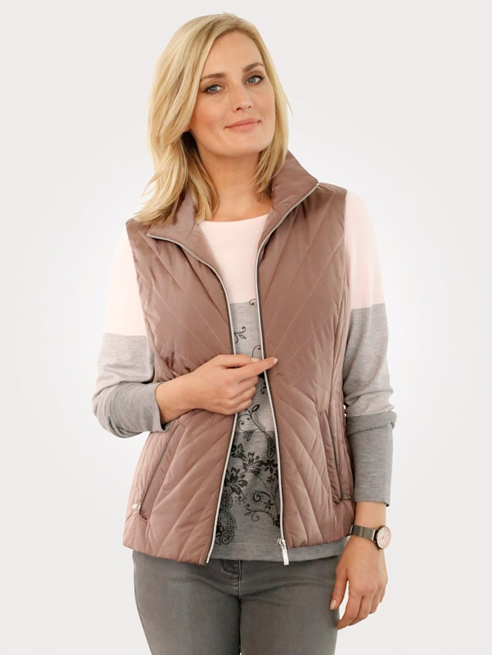 MONA Quilted gilet, Rosé