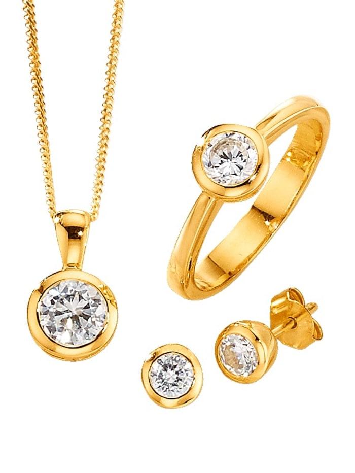 Parure de bijoux 4 pièces avec zirconia, Coloris or jaune