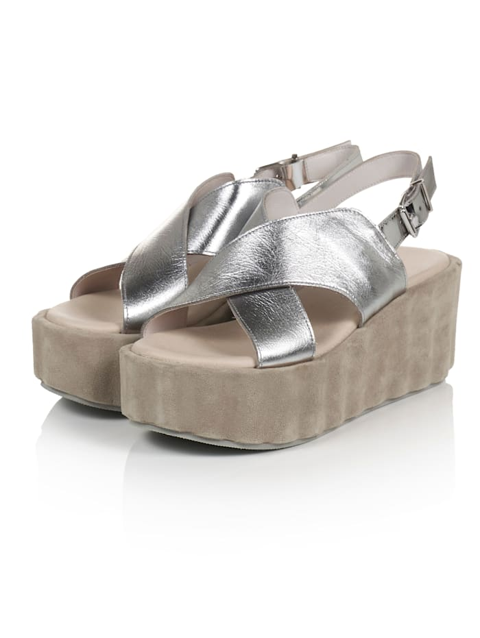 REKEN MAAR Sandalette, Silberfarben