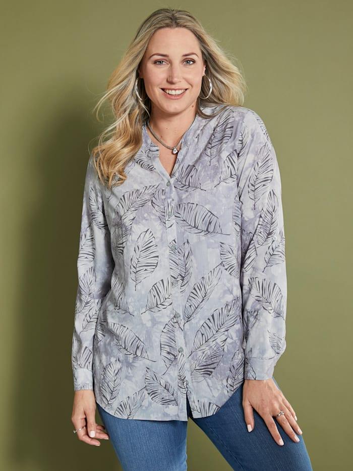 MIAMODA Bluse mit Batik- und Blätterdruck, Grau