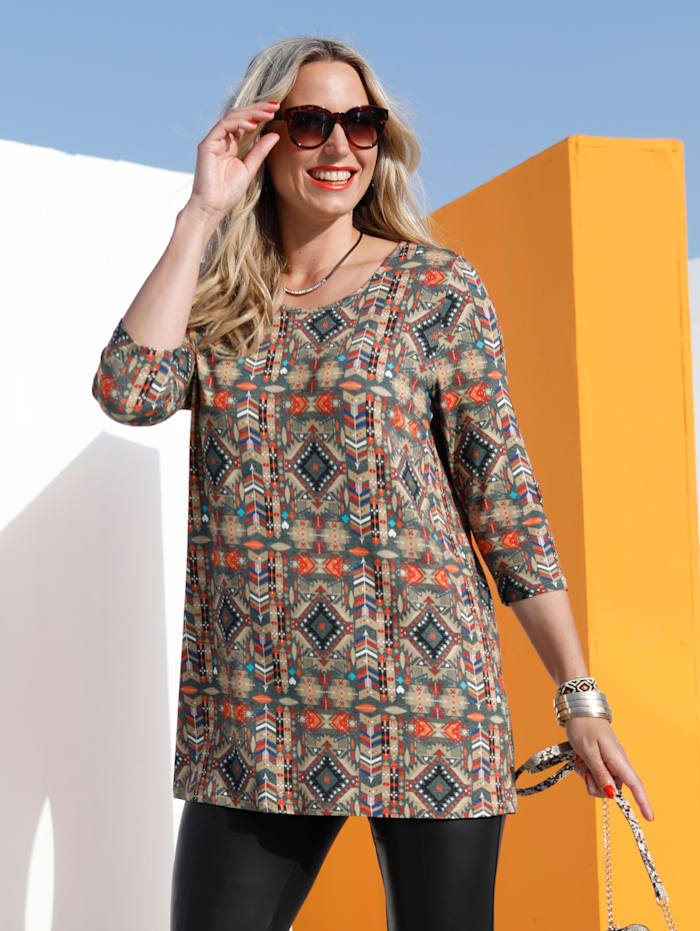 MIAMODA Longshirt mit Ethnodruck, Multicolor