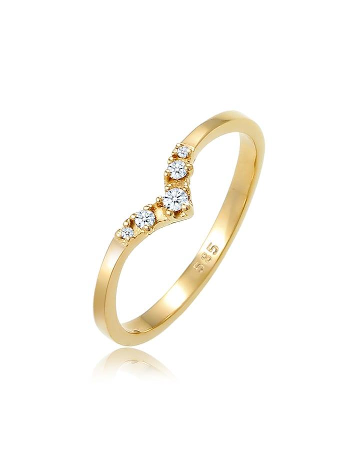 DIAMORE Ring Verlobungsring V-Form Diamant 0.07 Ct 585 Gelbgold, Gold