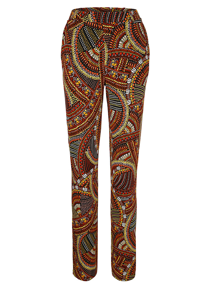 Jersey trousers in a colourful boho print