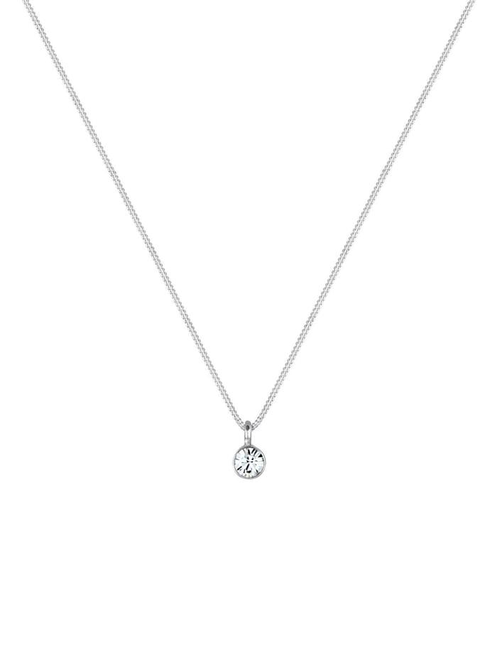 Halskette Solitär Anhänger Kristall 925 Silber