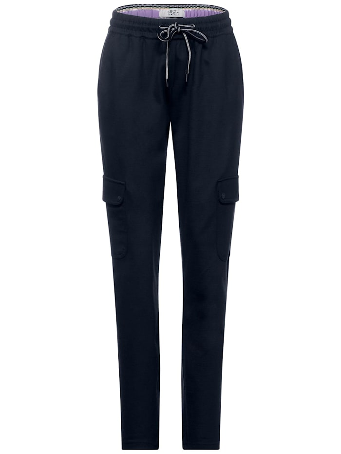 Cecil Casual Fit Hose in Unifarbe, deep blue