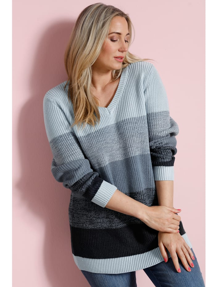 MIAMODA Pullover mit Blockstreifen, Blau