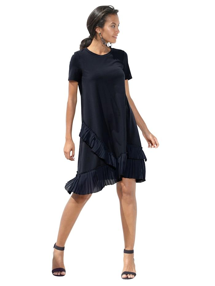 Jerseykleid mit Plissee-Besatz