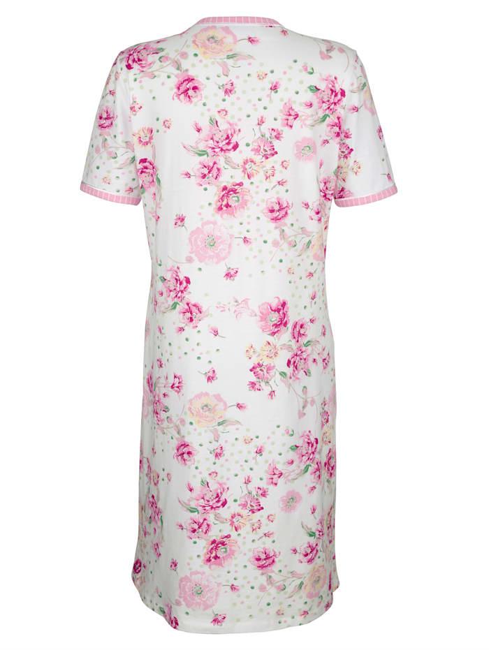 Nachthemd met gestreepte contrastpaspels aan hals en mouwzomen