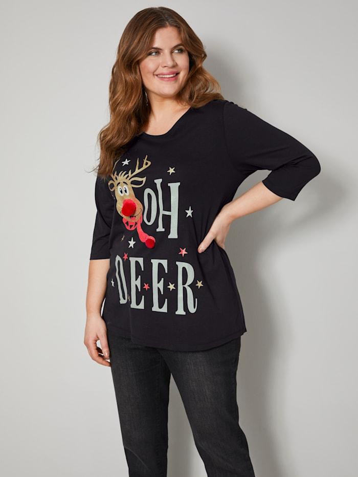 Janet & Joyce Shirt aus reiner Baumwolle, Schwarz