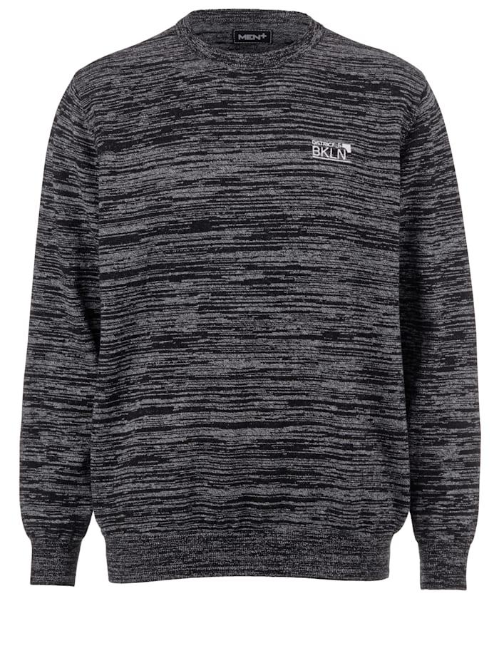 Men Plus Pullover aus reiner Baumwolle, Schwarz
