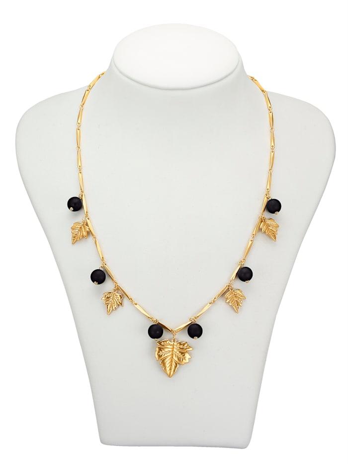Love Inspiration Halskette mit Blattelementen, Schwarz