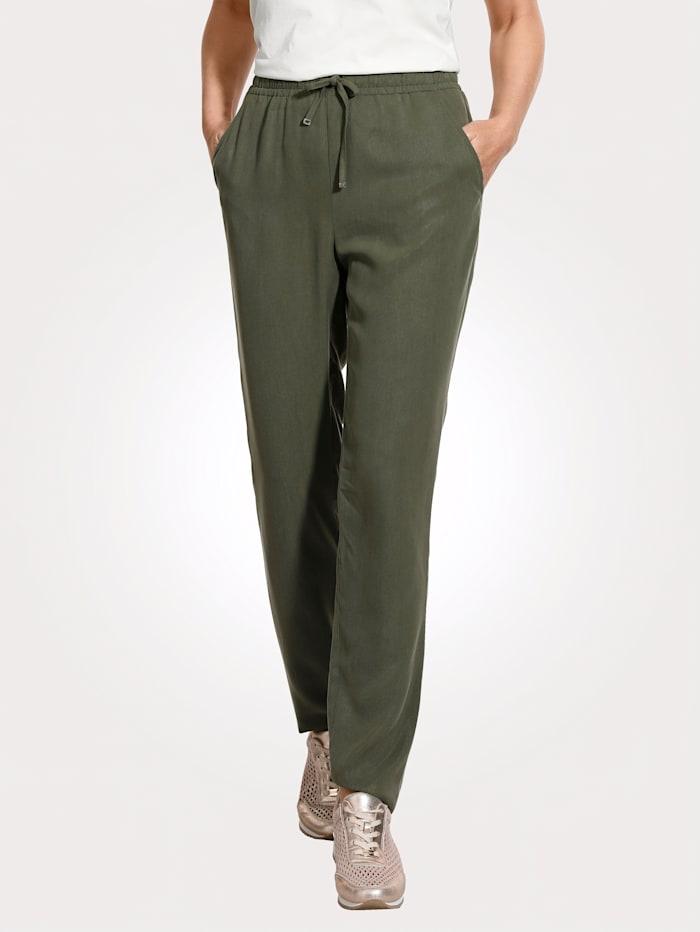 MONA Pantalon à taille élastiquée en Tencel, Olive