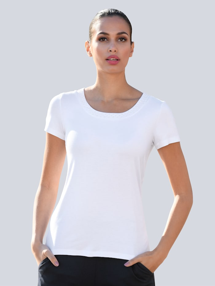 Alba Moda Shirt mit Zierperlen Detail, Weiß