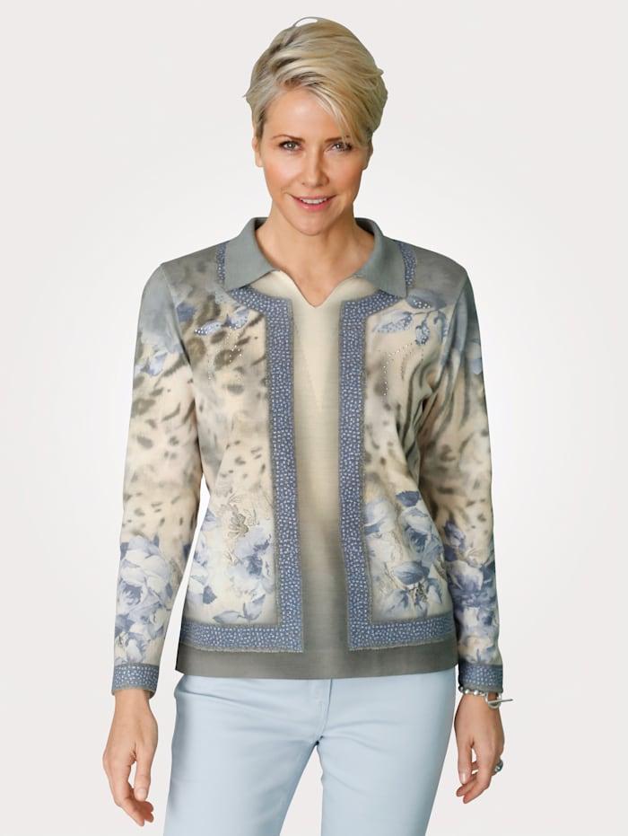 DiStrick Pullover mit Strass-Steinchen, Beige/Blau